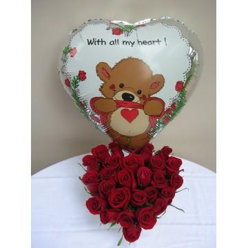 Corazón con rosas y globo...